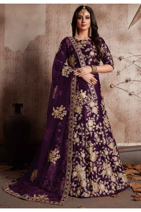 Purple Color Indian Bridesmaid lehenga Online