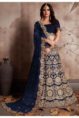 Blue Color Bridal Lehenga Choli for Bridesmaid