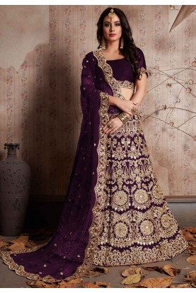 Wine Color Engagement Bridesmaid lehenga Online