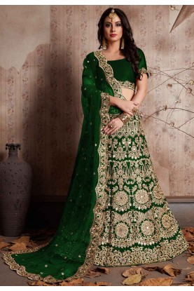 Green Color Bridesmaid lehenga Online