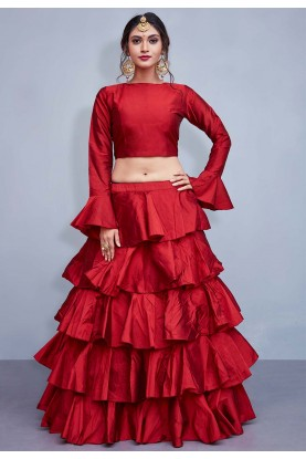 Red Color Bridesmaid lehenga Online