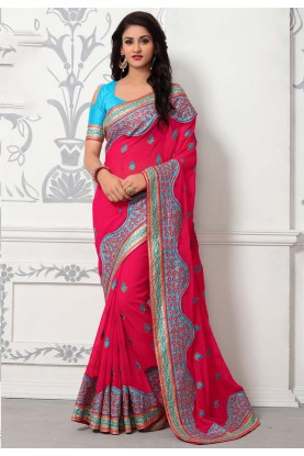 Buy Designer Sarees - Pink Color Embroidered Saree