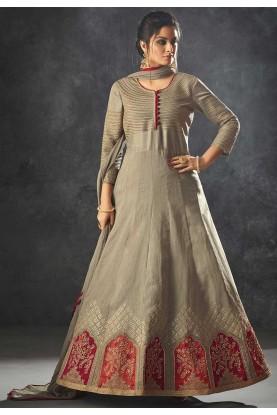 Grey Color Anarkali Salwar Suit.