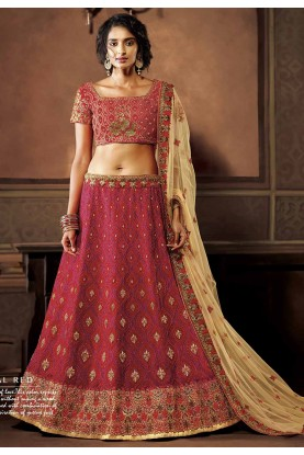 Pink Colour Indian Wedding Lehenga.