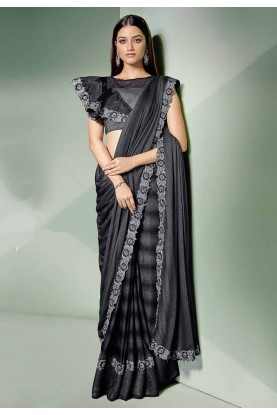 Black Colour Designer Saree.