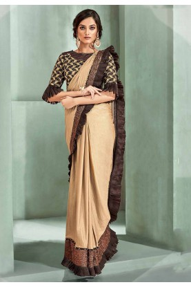 Beige Colour Lycra Saree.