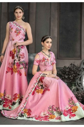 Pink Colour Party Wear Lehenga.