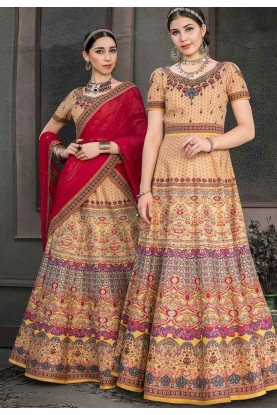 Beige Colour Silk Lehenga Choli.