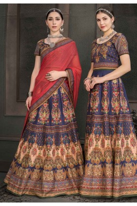 Blue Colour Designer Lehenga Choli.