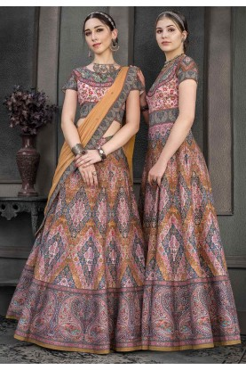 Multi Colour Art Silk Lehenga.