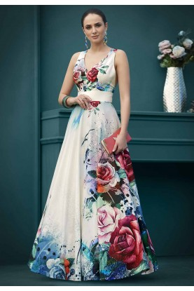 White,Multi Colour Party Wear Gown.