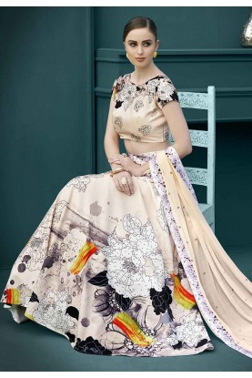 Beige,Multi Colour Printed Lehenga.