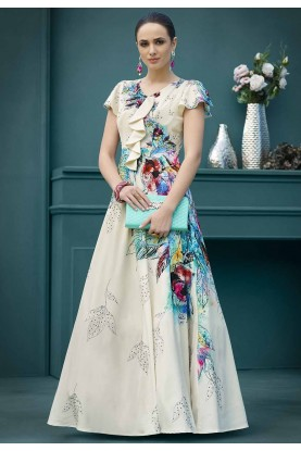 Cream,Blue Colour Printed Gown.