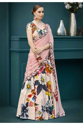 Peach,Multi Colour Printed Lehenga Choli.