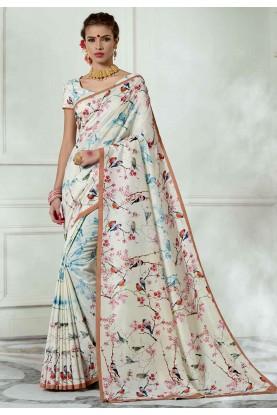 White Colour Party Wear Sari.