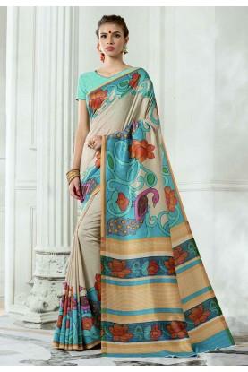 Cream,Blue Colour Casual Saree.