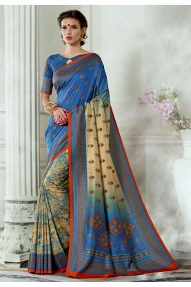 Blue,Cream Colour Silk Saree.