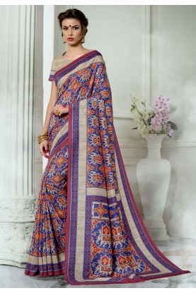 Blue,Red Colour Casual Saree.