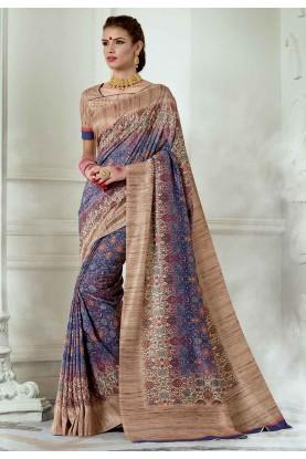 Purple,Beige Colour Printed Sari.