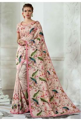 Pink Colour Silk Sari.