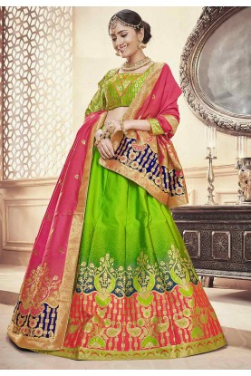 Green Colour Traditional Lehenga.