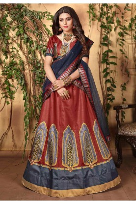 Maroon Colour Satin Lehenga Choli.