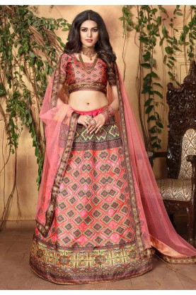 Peach Colour Designer Lehenga Choli.
