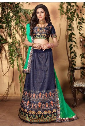 Blue Satin Lehenga Choli.