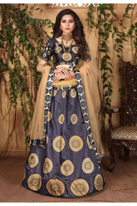 Printed Lehenga Choli in Blue Colour