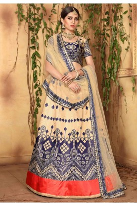 Cream,Blue Colour Lehenga Choli.