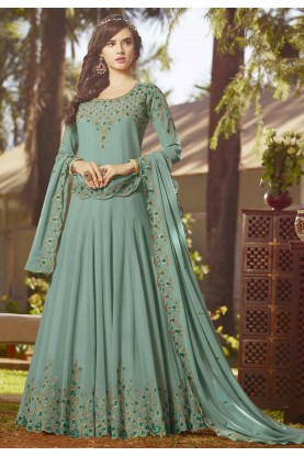 Blue Colour Georgette Anarkali Salwar Suit.