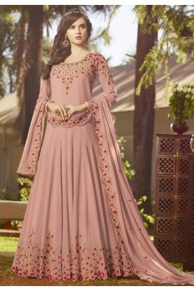 Pink Colour Georgette Salwar Kameez.