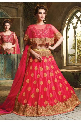 Pink Colour Engagement Lehenga.