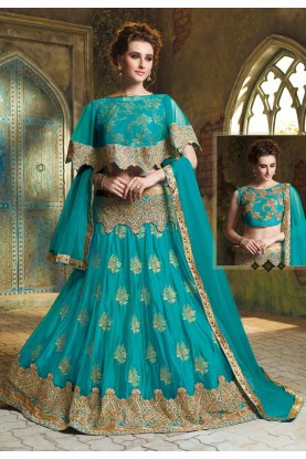 Turquoise Colour Net Lehenga Choli.