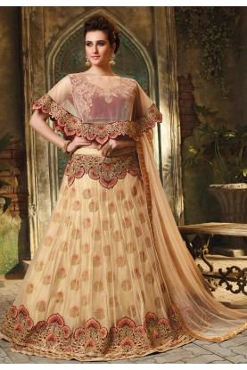 Beige Colour Indian Wedding Lehenga Choli.