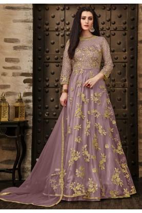 Designer Salwar Kameez in Purple Color.