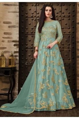 Blue Color Anarkali Salwar Kameez.