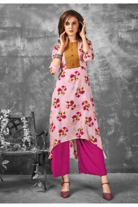 Pink Color Casual Kurti.