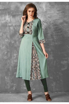 Green Color Readymade Kurti.