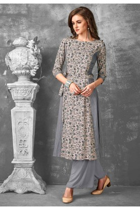 Grey Color Stylish Designer Kurti.