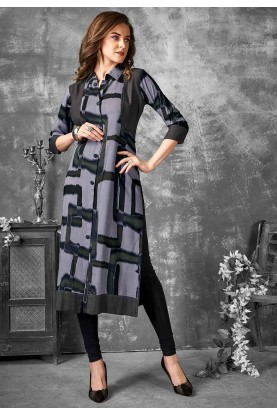 Grey Color Printed Kurti.