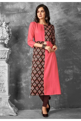 Pink,Brown Color Kurti.