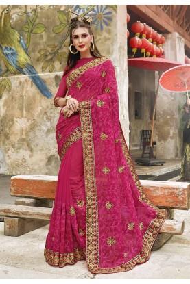Rani Pink Color Indian Wedding Saree.