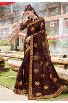 Brown Color Georgette Party Wear Saree.