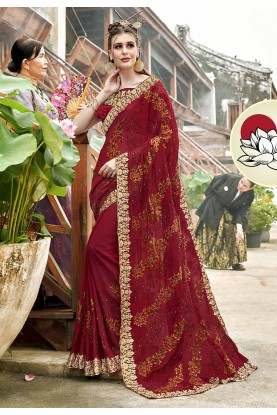 Maroon Color Georgette Wedding Saree.