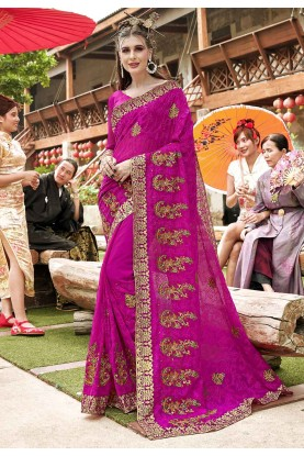 Pink Color Indian Designer Saree.