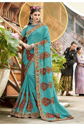 Turquoise Color Georgette Saree.
