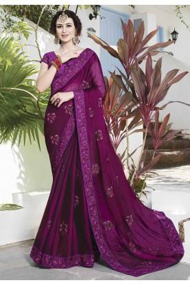 Purple Color Chiffon Designer Saree.