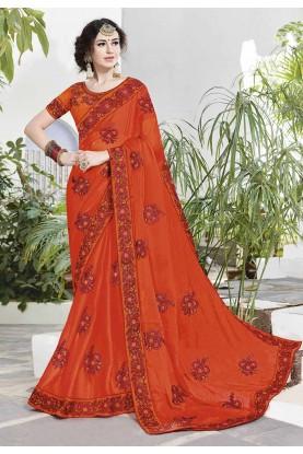 Orange Color Embroidery Saree.