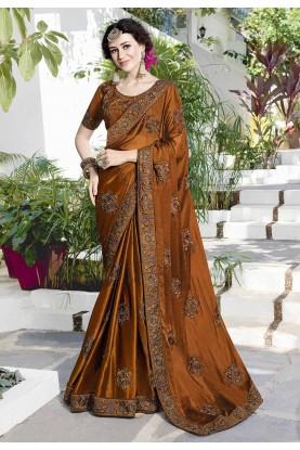 Brown Color Satin,Chiffon Saree.